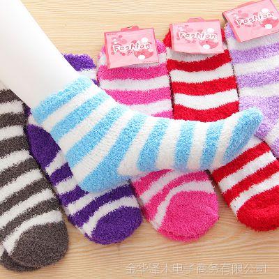 秋冬保暖加厚毛巾袜 防滑男女地板毛毛袜 条纹保暖袜可爱睡眠袜子
