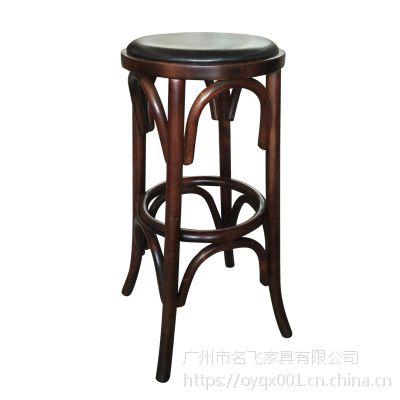 麦德嘉BD02高吧凳 圆凳面全实木高脚椅 咖啡厅酒吧椅 美式家具