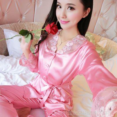 大红色本命年睡衣女 韩版蕾丝淑女修身领长袖冰丝绸贴身睡眠套装