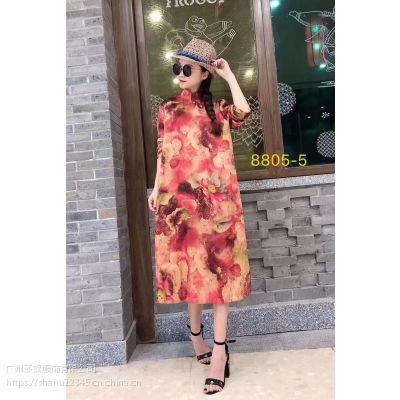 19年新款米谷儿香云纱系列连衣裙品牌一手货源中老年人女装批发