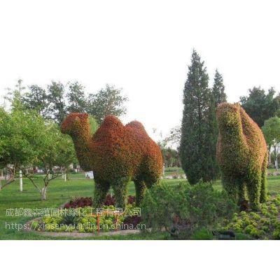 成都使用草花大量型真植物景观雕塑真植物双爱心拱门绿雕,