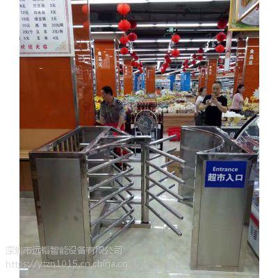 远韬商场/车站 超市半高闸不锈钢电动手动十字式旋转闸门外加护栏