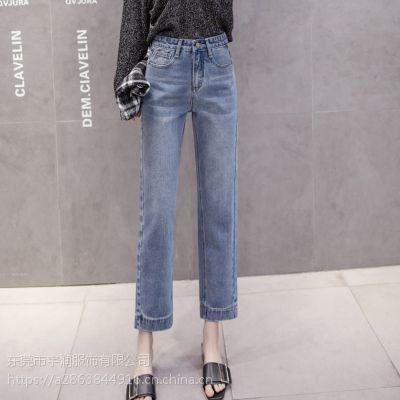 广州牛仔批发工厂清货一批时尚韩版破洞牛仔裤高质量尾货品牌九分裤清