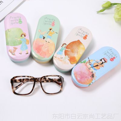 京尚日韩男女学生马口铁眼镜盒可爱小清新便携抗压近视眼镜收纳盒