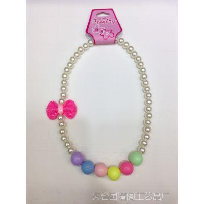 韩版珍珠项链饰品 儿童毛衣链礼物生日塑料/树脂儿童配饰