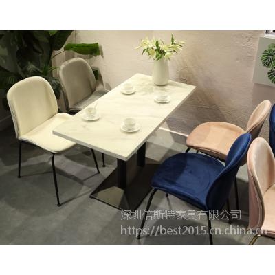 倍斯特简约现代大理石餐桌创意中餐西餐休闲奶茶厂家定制