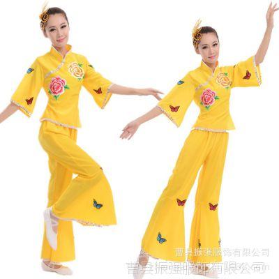 成人女秧歌演出服中老年扇子腰鼓舞蹈服民族服装现代广场舞服批发