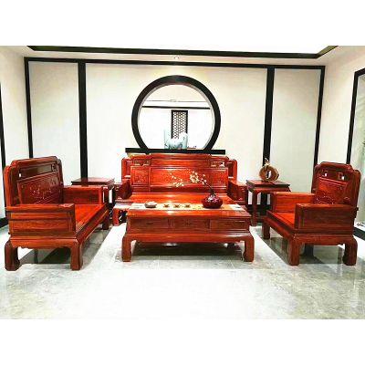 厂家刺猬紫檀国色天香沙发123组合六件套价格