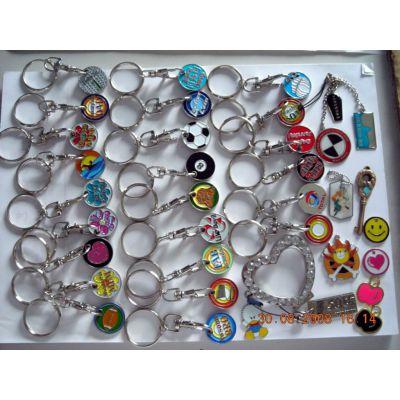 广东金属烤漆代币扣, 超市购物币制作, 卡通代币钥匙扣挂件