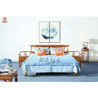 刺猬紫檀低箱床3件套-花梨木床-红木古典中式床价格
