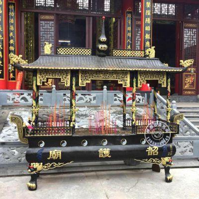 禅相法器供应念佛堂铸铁长方形香炉 贵州六盘水道观八卦香炉