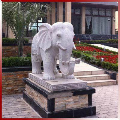 大象石雕摆门口的寓意 招财进宝吉祥如意花岗岩石雕大象