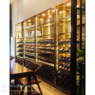 西餐厅欧式不锈钢恒温酒柜|特攻不锈钢酒架厂家|多开式304钛金酒柜定制