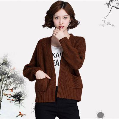 厂家直销2018新款库存时尚韩版秋冬款女装针织厚开衫毛衣外套货源