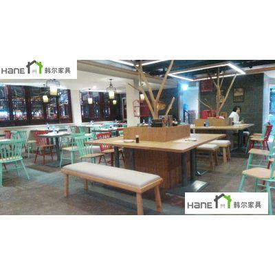 上海韩尔品牌 美式快餐桌,快餐桌子,小吃店餐桌,实木餐桌,餐桌工厂