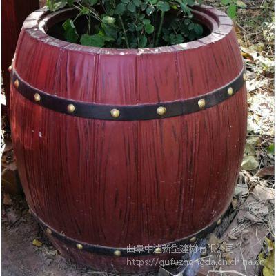 阜阳厂家专业制造水泥仿木花箱 移动式组合景观花箱