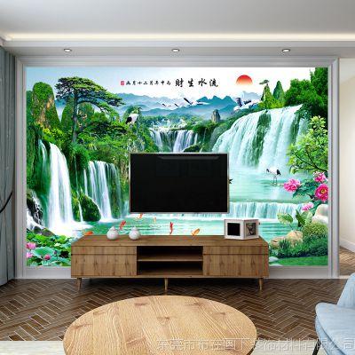 厂家直销3d山水瀑布中式壁纸 客厅电视墙背景墙纸 无纺布大型壁画