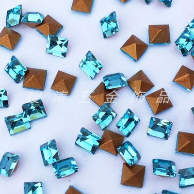 国产捷克3*3湖水蓝尖底方钻玻璃水晶钻 眼镜手表戒指吊坠饰品配件