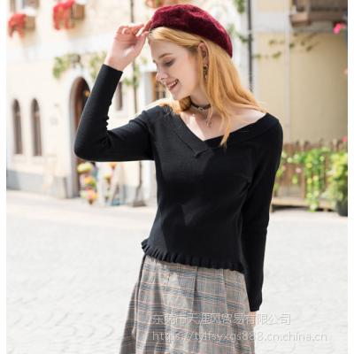 贵州毛衣批发市场 2018秋季新款女装插肩袖V领木耳边套头针织衫时尚百搭纯色毛衣女