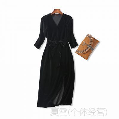 18秋季新品 知性优雅 V领系带收腰侧开叉七分袖中长款丝绒连衣裙