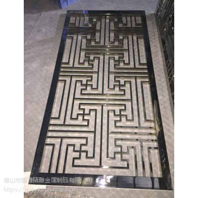 福建漳州别墅定做青铜不锈钢中式花格焊接屏风