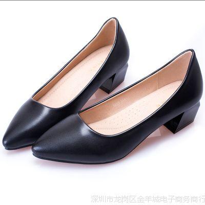 大码空姐工作鞋女黑色职业高跟鞋平底尖头粗跟礼仪面试百搭女单鞋