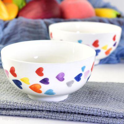 唯奥多厂家批发骨质瓷饭碗 方形米饭碗家用餐具纯白面碗 可定制画面