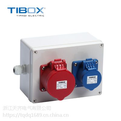 TIBOX户外防水防尘16A220V插座箱批发定制配电箱壳体丝印接线盒
