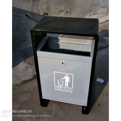 销售小区户外垃圾桶 钢板单筒果皮箱 顶部可加烟灰缸 金属垃圾箱