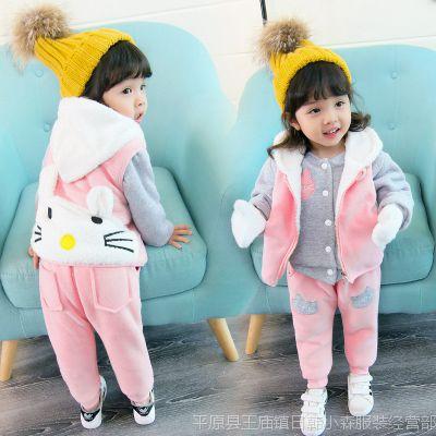 女童装套装冬三件套小孩卫衣2宝宝冬天衣服3-4岁婴儿加绒加厚衣服