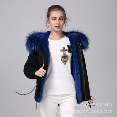厂家直销皮草外套女新款2018真貉子毛领保暖棉服短款潮流派克服