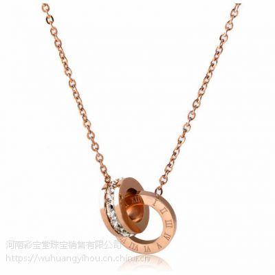 河南五皇一后珠宝供应钛合金项链爱的印记 钛合金项链 项链批发 女士