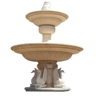 热卖石雕喷泉别墅花园黄锈石水钵庭院花园大理石花盆流水摆件