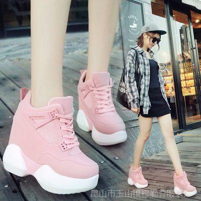 一件代发内增高女鞋超高跟12cm春季厚底松糕运动鞋系带百搭休闲鞋