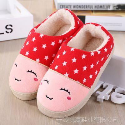 冬季新款男女情侣款 卡通笑脸猫咪同款棉鞋 加厚保暖包根棉拖鞋