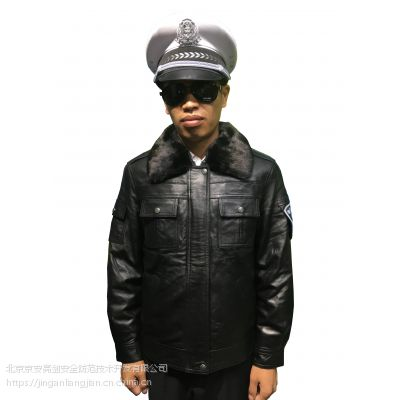 警用男女同款AA级绵羊皮水貂毛领獭兔毛内胆反光夹克款真皮皮衣皮夹克