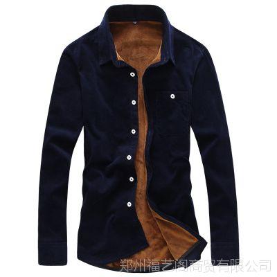 冬季男装大码灯芯绒加绒保暖衬衫长袖韩版男士加厚条绒保暖衬衣