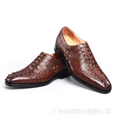 厂家直销鳄鱼皮鞋 鳄鱼皮男士真皮休闲皮鞋夏款男鞋批发 实体加盟