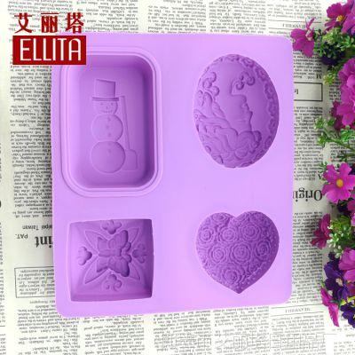 DIY手工皂硅胶模具 4连 雪人玫瑰美女头像爱心蝴蝶 厂家批发零售
