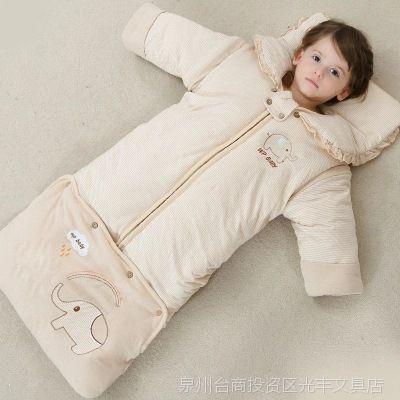 冬季中大童新款冬天加棉春秋长袍婴儿睡袋睡带拉链款马甲式被子出