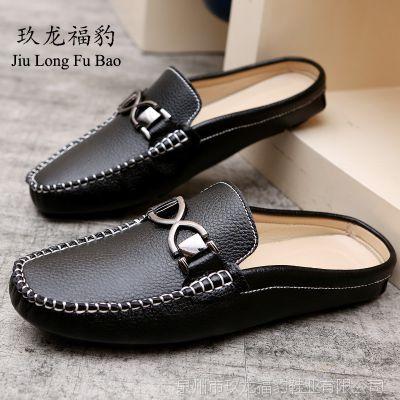 男士豆豆鞋超纤休闲皮鞋驾车鞋韩版懒人鞋子一脚半托懒人鞋厂家直