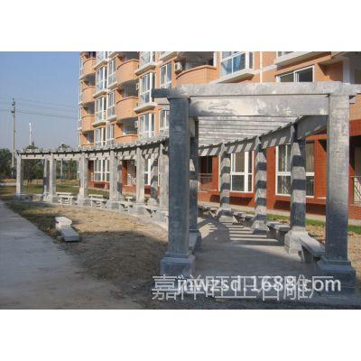 山东青石雕刻庭院景观葡萄架报价 户外石头藤架制作