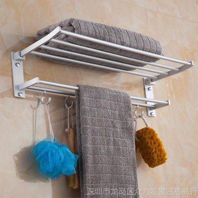 加厚免打孔卫浴太空铝铝合金毛巾架五金挂件浴巾架浴室卫生间壁挂