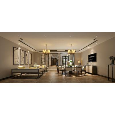 北碚东原嘉阅湾联排别墅300平米户型改造新中式风格设计效果图赏析
