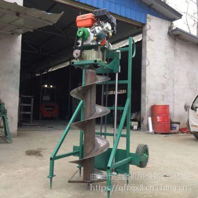 佳鑫8马力汽油植树挖坑机 树苗栽种打坑钻眼机 电线杆打眼机价格