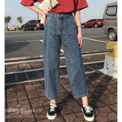 广州的库存尾货批发市场杂款牛仔裤批发便宜时尚牛仔裤清货