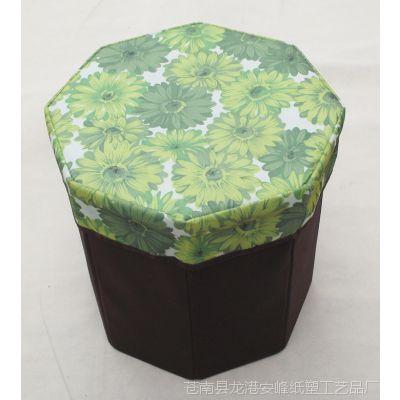 印花 牛津布 八角储物凳 折叠收纳盒 衣橱衣柜整理箱收纳盒批发