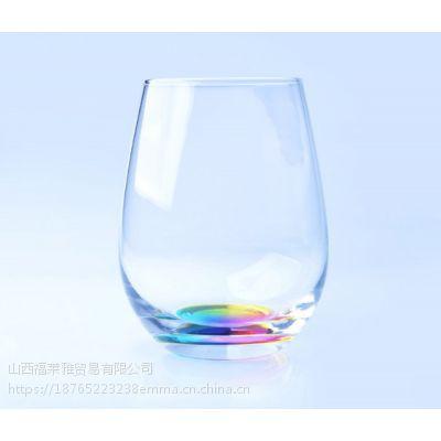 彩虹底玻璃口杯 蛋杯 高白料 威士忌玻璃水杯