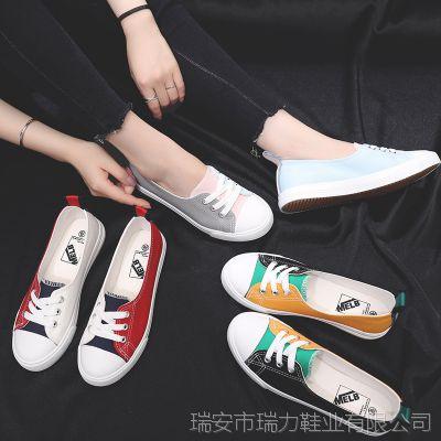 夏季新款透气女帆布鞋懒人拼色学生女鞋休闲运动鞋低帮浅口小板鞋