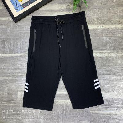 2019新款精品夏款男装七分短裤,精选纯棉针织布料